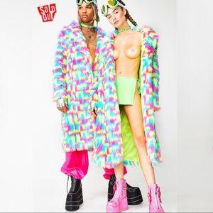 Club Exx Unisex Rainbow Fur Jacket